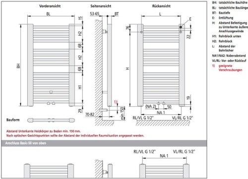 kermi basic 50 badheizk rper 60 x 145 cm wei ral 9016. Black Bedroom Furniture Sets. Home Design Ideas