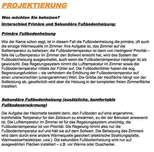 ECOFLOOR/® Fu/ßbodenheizung elektrisch 160 Watt//m/² Gr/ö/ße w/ählbar 1-12m/² Fu/ßboden-Heizmatte Twin 4 m/² = 8 m L/änge