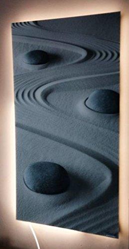 infrarotheizung glas rahmenlos mit bild 400 watt motiv steine sand. Black Bedroom Furniture Sets. Home Design Ideas