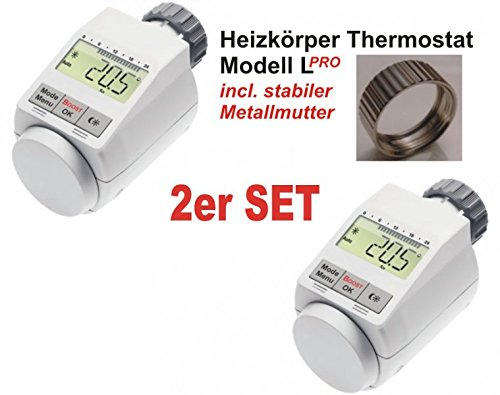 komfort heizk rperthermostat model l pro mit boost funktion 2er set incl stabiler. Black Bedroom Furniture Sets. Home Design Ideas